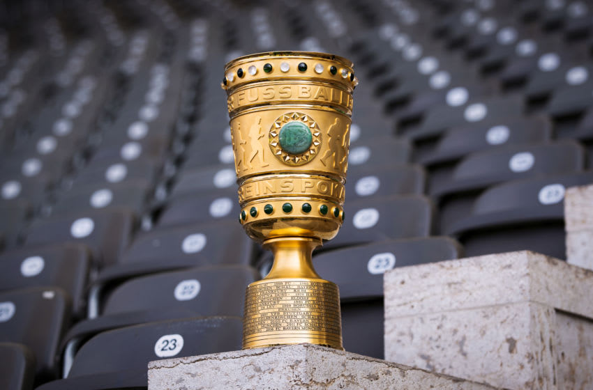 BERLIN, GERMANY - MAY 19: (EXCLUSIVE COVERAGE) The original DFB Cup trophy is seen prior to the DFB Cup Final 2018 at Olympiastadion on May 19, 2018 in Berlin, Germany. (Photo by Alex Grimm/Getty Images)