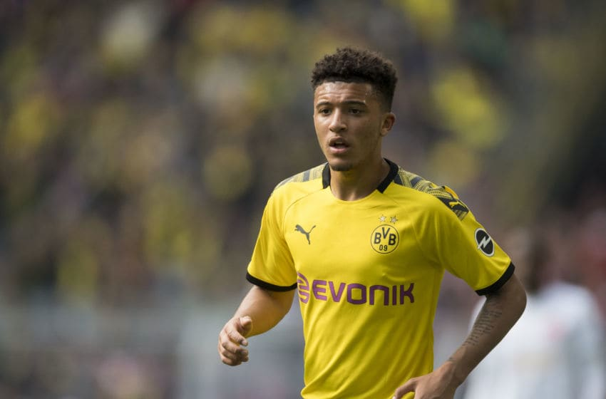 DORTMUND, GERMANY - MAY 11: Jadon Sancho of Borussia Dortmund in action during the Bundesliga match between Borussia Dortmund and Fortuna Duesseldorf at the Signal Iduna Park on May 11, 2019 in Dortmund, Germany. (Photo by Alexandre Simoes/Borussia Dortmund/Getty Images)