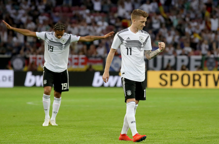 MAINZ, GERMANY - JUNE 11: Marco Reus of Germany celebrates scoring the 5th goal during the UEFA Euro 2020 Qualifier match between Germany and Estonia at Opel Arena on June 11, 2019 in Mainz, Germany. (Photo by Alexander Hassenstein/Bongarts/Getty Images)