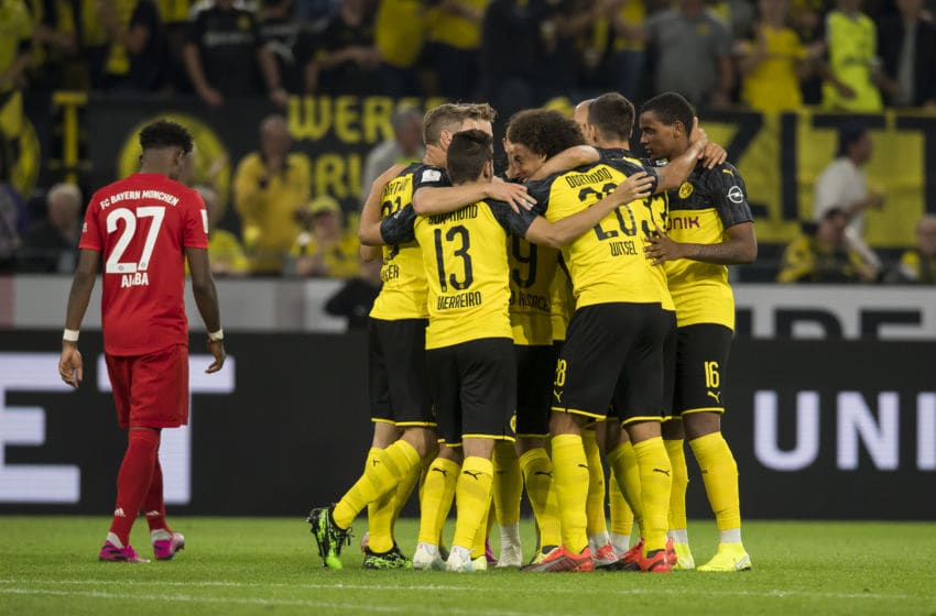 DORTMUND, GERMANY - AUGUST 03: Paco Alcacer celebrates his goal to the 1:0 during the DFL Supercup 2019 match at the Signal Iduna Park on August 03, 2019 in Dortmund, Germany. (Photo by Alexandre Simoes/Borussia Dortmund via Getty Images)