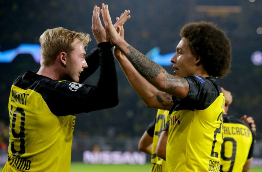 DORTMUND, GERMANY - NOVEMBER 5: (L-R) Julian Brandt of Borussia Dortmund, Axel Witsel of Borussia Dortmund celebrate 2-2 during the UEFA Champions League match between Borussia Dortmund v Internazionale at the Signal Iduna Park on November 5, 2019 in Dortmund Germany (Photo by Laurens Lindhout/Soccrates/Getty Images)