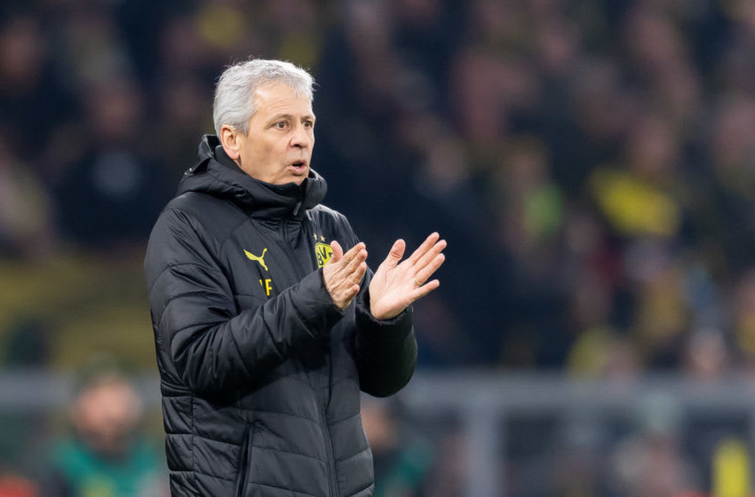DORTMUND, GERMANY - DECEMBER 07: head coach Lucien Favre of Borussia Dortmund gestures during the Bundesliga match between Borussia Dortmund and Fortuna Duesseldorf at Signal Iduna Park on December 7, 2019 in Dortmund, Germany. (Photo by TF-Images/Getty Images)