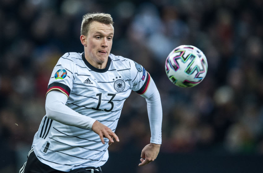 MOENCHENGLADBACH, GERMANY - NOVEMBER 16: Lukas Klostermann of Germany controls the ball during the UEFA Euro 2020 Qualifier between Germany and Belarus on November 16, 2019 in Moenchengladbach, Germany. (Photo by Lukas Schulze - UEFA/UEFA via Getty Images)