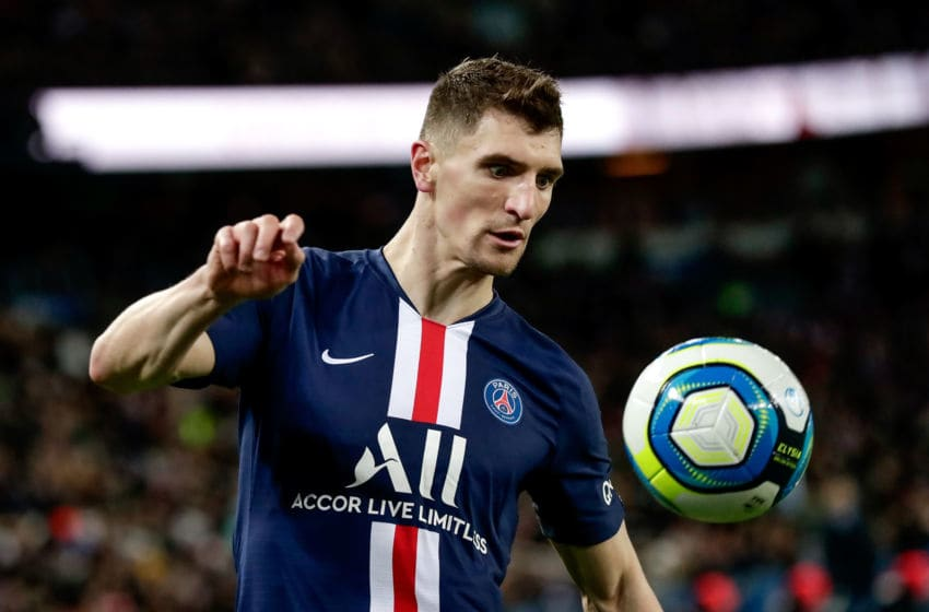 PARIS, FRANCE - DECEMBER 21: Thomas Meunier of Paris Saint Germain during the French League 1 match between Paris Saint Germain v Amiens SC at the Parc des Princes on December 21, 2019 in Paris France (Photo by Angelo Blankespoor/Soccrates/Getty Images)