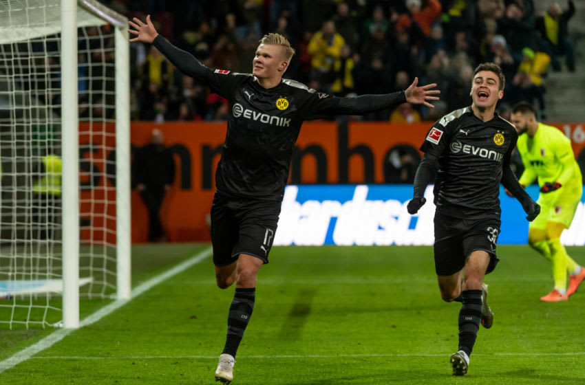 AUGSBURG, GERMANY - JANUARY 18: (BILD ZEITUNG OUT) Erling Haaland of Borussia Dortmund celebrates after scoring his team's fifth goal during the Bundesliga match between FC Augsburg and Borussia Dortmund at WWK-Arena on January 18, 2020 in Augsburg, Germany. (Photo by TF-Images/Getty Images)