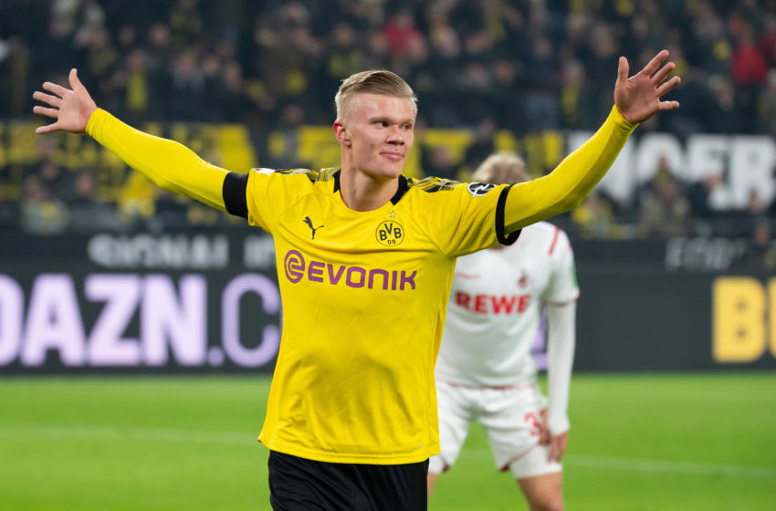DORTMUND, GERMANY - JANUARY 24: (BILD ZEITUNG OUT) Erling Haaland of Borussia Dortmund celebrates after scoring his team's fourth goal during the Bundesliga match between Borussia Dortmund and 1. FC Koeln at Signal Iduna Park on January 24, 2020 in Dortmund, Germany. (Photo by TF-Images/Getty Images)