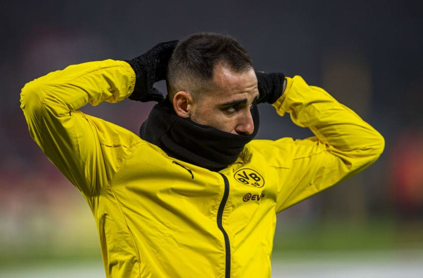 24 January 2020, North Rhine-Westphalia, Dortmund: Football: Bundesliga, 19th matchday Borussia Dortmund - 1 FC Cologne, 19th matchday at Signal-Iduna-Park. Dortmund's Paco Alcacer looks thoughtful. Photo: David Inderlied/dpa - IMPORTANT NOTE: In accordance with the regulations of the DFL Deutsche Fußball Liga and the DFB Deutscher Fußball-Bund, it is prohibited to exploit or have exploited in the stadium and/or from the game taken photographs in the form of sequence images and/or video-like photo series. (Photo by David Inderlied/picture alliance via Getty Images)