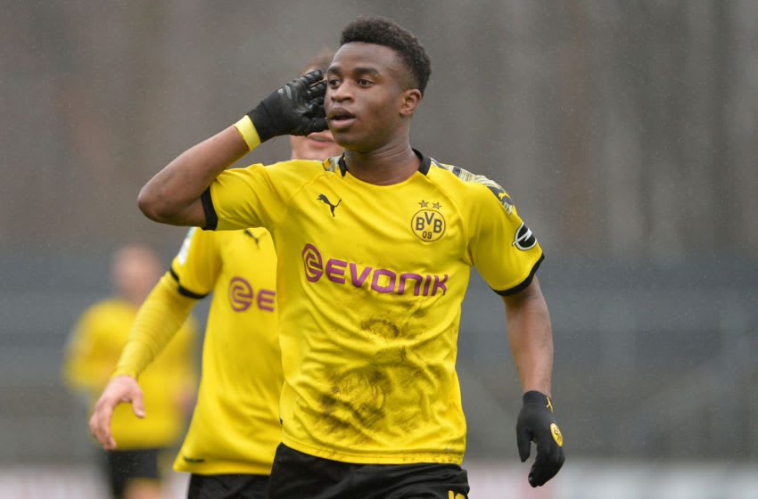 COLOGNE, GERMANY - FEBRUARY 02: (BILD ZEITUNG OUT) Youssoufa Moukoko of Borussia Dortmund U19 celebrates after scoring his teams second goal during the U19 Bundesliga match between 1. FC Koeln U19 and Borussia Dortmund U19 on February 2, 2020 in Cologne, Germany. (Photo by Ralf Trees/DeFodi Images via Getty Images)