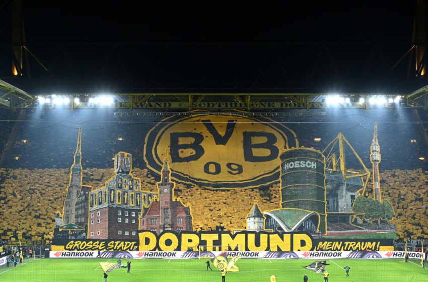 DORTMUND, GERMANY - FEBRUARY 14: (BILD ZEITUNG OUT) Supporters of Broussia Dortmund doing a choreography during the Bundesliga match between Borussia Dortmund and Eintracht Frankfurt at Signal Iduna Park on February 14, 2020 in Dortmund, Germany. (Photo by Ralf Treese/DeFodi Images via Getty Images)