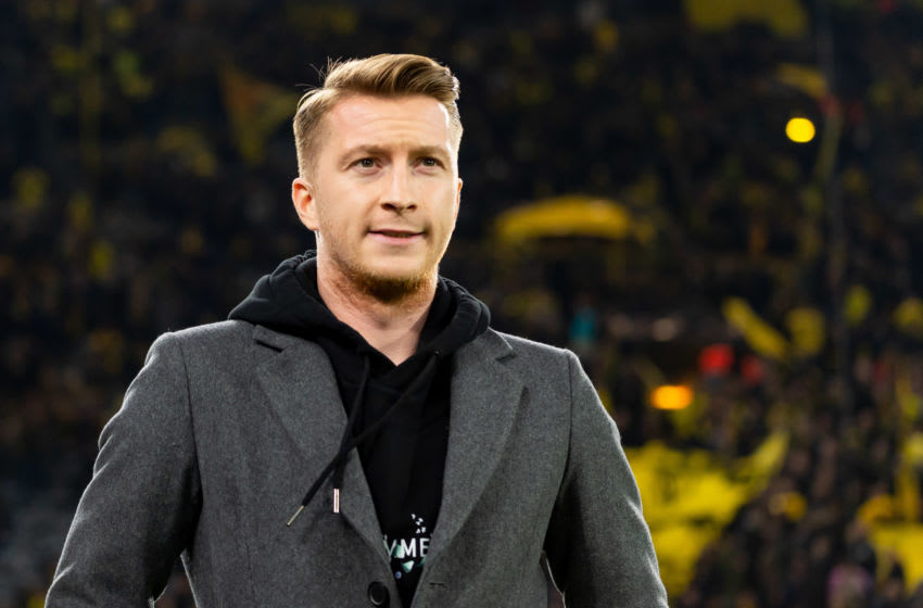 DORTMUND, GERMANY - FEBRUARY 18: (BILD ZEITUNG OUT) Marco Reus of Borussia Dortmund looks on prior to the UEFA Champions League round of 16 first leg match between Borussia Dortmund and Paris Saint-Germain at Signal Iduna Park on February 18, 2020 in Dortmund, Germany. (Photo by DeFodi Images via Getty Images)