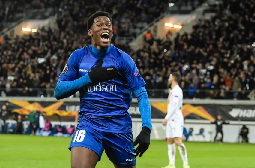 Jonathan David of KAA Gent scores during the UEFA Europa League round of 32 second leg match between KAA Gent v AS Roma at Ghelamco Arena on February 27, 2020 in Gent, Belgium(Photo by ANP Sport via Getty Images)