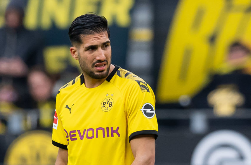 DORTMUND, GERMANY - FEBRUARY 29: (BILD ZEITUNG OUT) Emre Can of Borussia Dortmund looks on during the Bundesliga match between Borussia Dortmund and Sport-Club Freiburg at Signal Iduna Park on February 29, 2020 in Dortmund, Germany. (Photo by Max Maiwald/DeFodi Images via Getty Images)