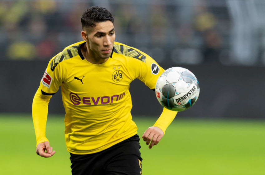 DORTMUND, GERMANY - FEBRUARY 29: (BILD ZEITUNG OUT) Achraf Hakimi of Borussia Dortmund controls the ball during the Bundesliga match between Borussia Dortmund and Sport-Club Freiburg at Signal Iduna Park on February 29, 2020 in Dortmund, Germany. (Photo by Max Maiwald/DeFodi Images via Getty Images)