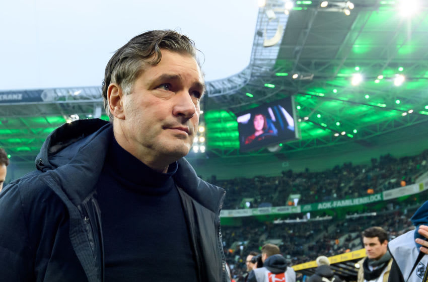 MOENCHENGLADBACH, GERMANY - MARCH 07: (BILD ZEITUNG OUT) sporting director Michael Zorc of Borussia Dortmund looks on prior to the Bundesliga match between Borussia Moenchengladbach and Borussia Dortmund at Borussia-Park on March 7, 2020 in Moenchengladbach, Germany. (Photo by Alex Gottschalk/DeFodi Images via Getty Images)