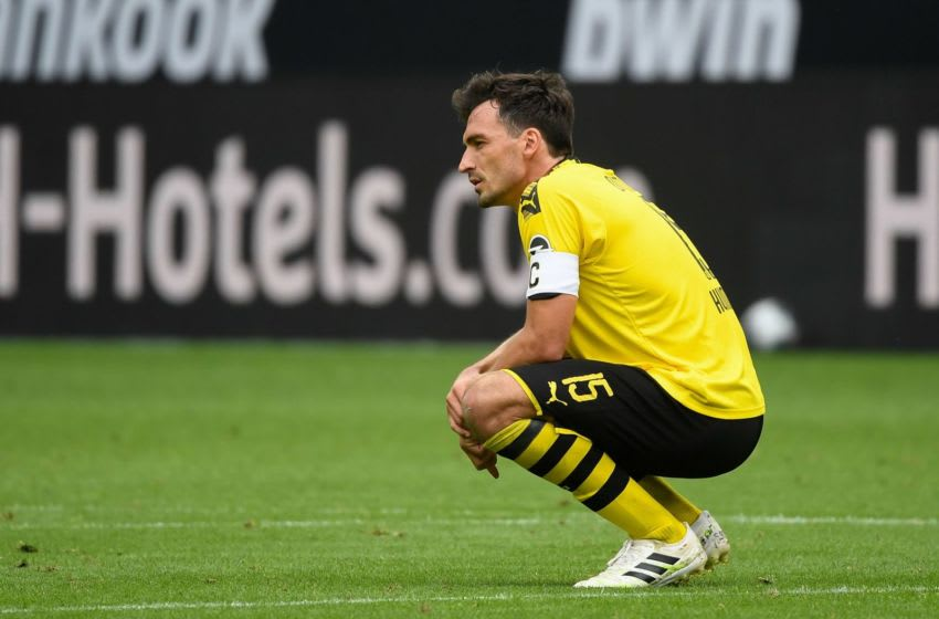 Dortmund's German defender Mats Hummels reacts during the German first division Bundesliga football match BVB Borussia Dortmund v TSG 1899 Hoffenheim on June 27, 2020 in Dortmund, western Germany. (Photo by Ina FASSBENDER / various sources / AFP) / DFL REGULATIONS PROHIBIT ANY USE OF PHOTOGRAPHS AS IMAGE SEQUENCES AND/OR QUASI-VIDEO (Photo by INA FASSBENDER/AFP via Getty Images)
