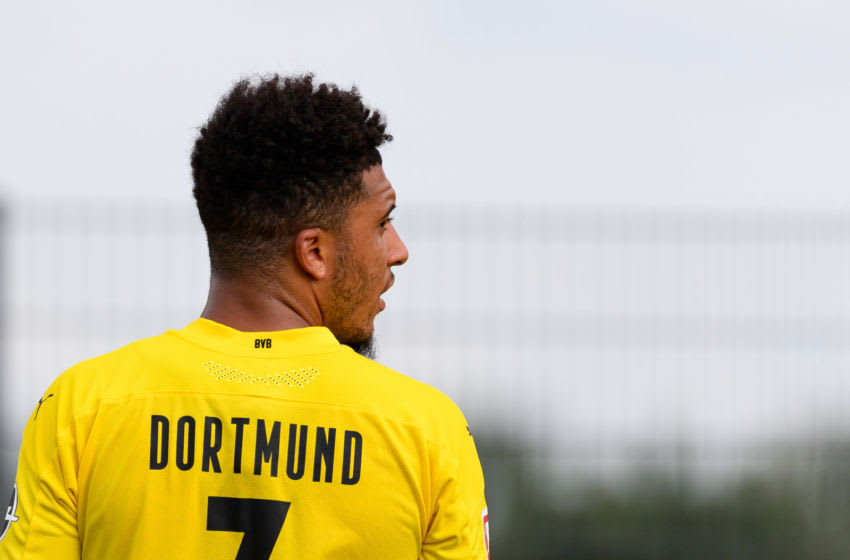 Jadon Sancho of Borussia Dortmund looks on (Photo by Alex Gottschalk/DeFodi Images via Getty Images)