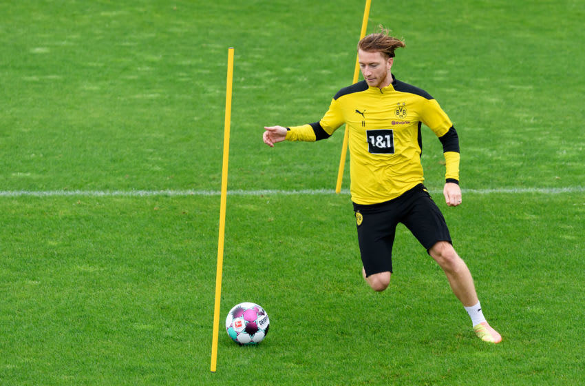 Marco Reus of Borussia Dortmund controls the ball during training (Photo by Alex Gottschalk/DeFodi Images via Getty Images)