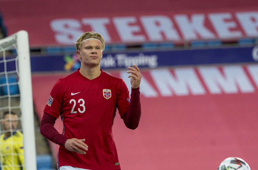 OSLO, NORWAY - OCTOBER 14: Erling Braut Haaland of Norway during the UEFA Nations League group stage match between Norway and Northern Ireland at Ullevaal Stadion on October 14, 2020 in Oslo, Norway. (Photo by Trond Tandberg/Getty Images)
