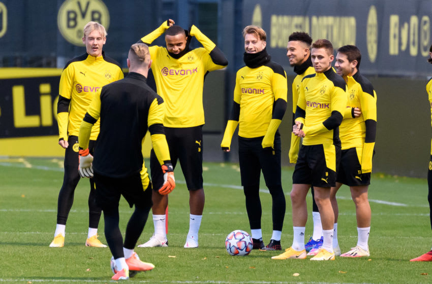 Borussia Dortmund train ahead of their Champions League clash against Zenit (Photo by Alex Gottschalk/DeFodi Images via Getty Images)