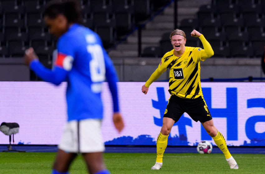 Erling Haaland celebrates his fourth goal (Photo by Mario Hommes/DeFodi Images via Getty Images)
