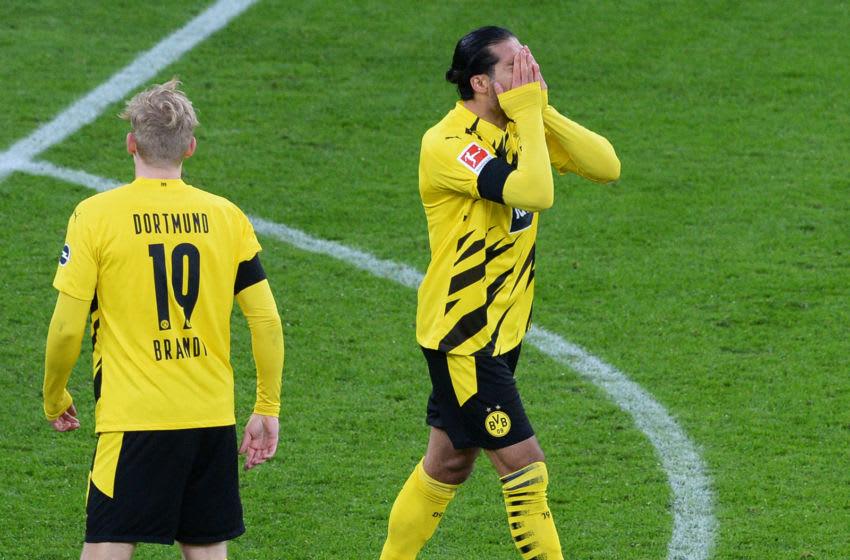 DORTMUND, GERMANY - NOVEMBER 28: Dortmund's Emre Can (R) reacts during the Bundesliga match between Borussia Dortmund and 1. FC Koeln at Signal Iduna Park on November 28, 2020 in Dortmund, Germany. (Photo by Uwe Kraft - Pool/Getty Images)