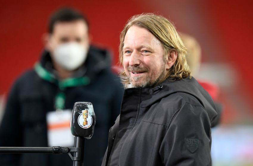 Sven Mislintat is thought to be attracting interest from Borussia Dortmund (Photo by THOMAS KIENZLE/POOL/AFP via Getty Images)