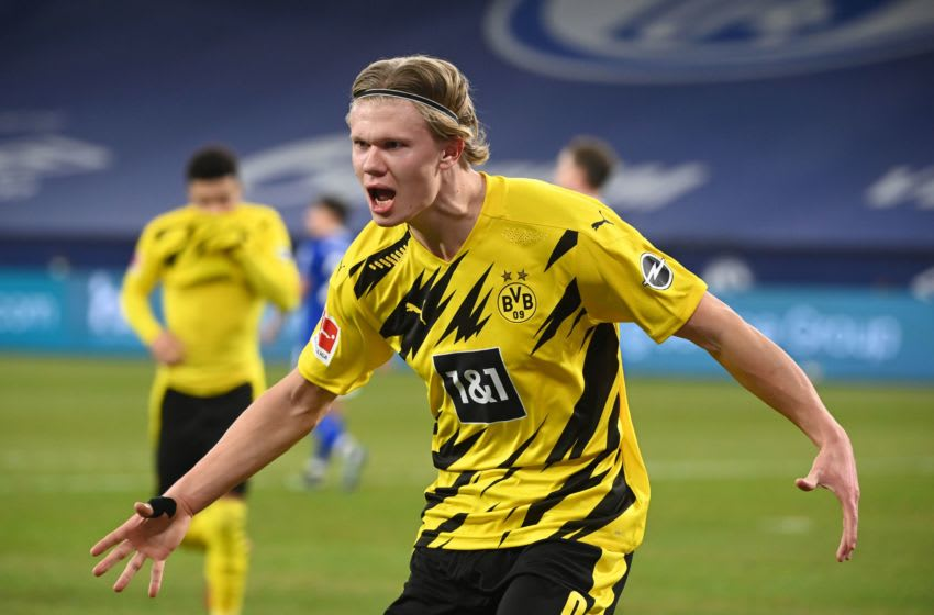 Erling Haaland continues to be linked with a move away from Borussia Dortmund. (Photo by Ina Fassbender / various sources / AFP) / RESTRICTIONS: DFL REGULATIONS PROHIBIT ANY USE OF PHOTOGRAPHS AS IMAGE SEQUENCES AND/OR QUASI-VIDEO (Photo by INA FASSBENDER/AFP via Getty Images)