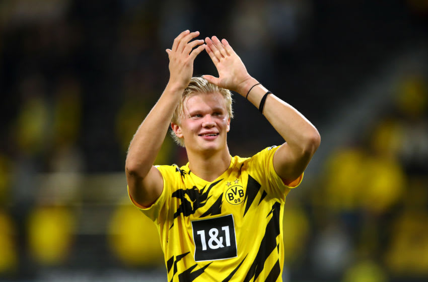 Erling Haaland of Borussia Dortmund. (Photo by Dean Mouhtaropoulos/Getty Images)