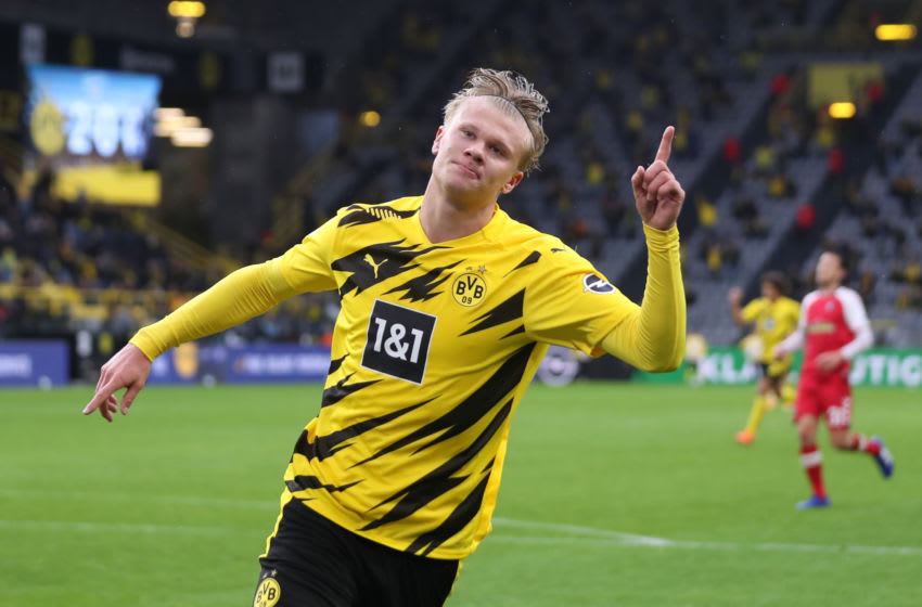 Erling Haaland of Borussia Dortmund celebrates after scoring (Photo by Lars Baron/Getty Images)
