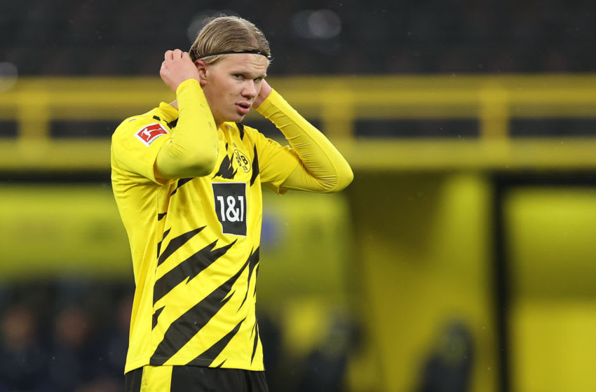 Erling Haaland is not looking to leave Borussia Dortmund. (Photo by Lars Baron/Getty Images)