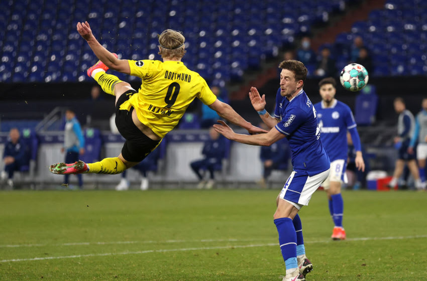 Erling Haaland scored a stunning scissor kick against Schalke (Photo by Lars Baron/Getty Images)