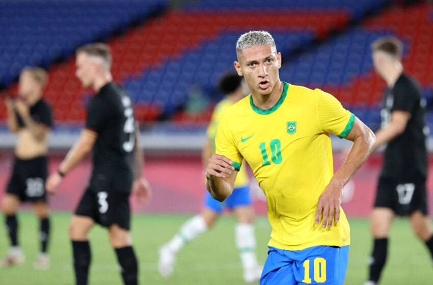 Richarlison of Brazil celebrates after scoring against Germany. (Photo by Toru Hanai/Getty Images)