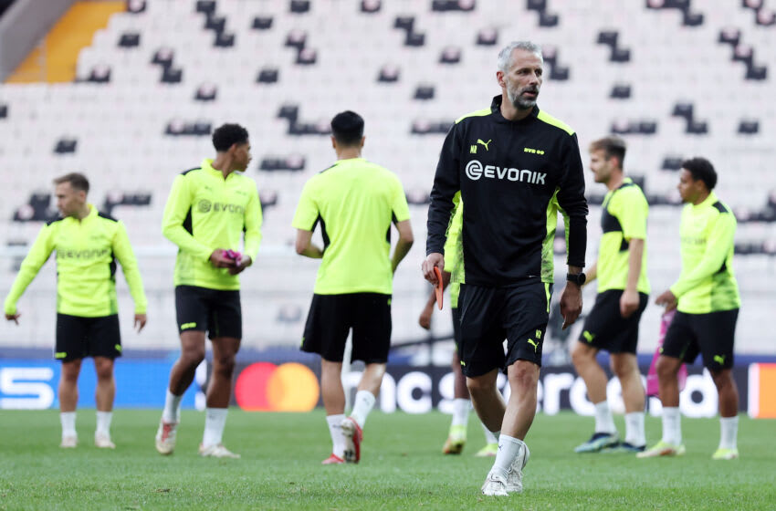 Borussia Dortmund players train ahead of the game. (Photo by Alex Grimm/Getty Images)