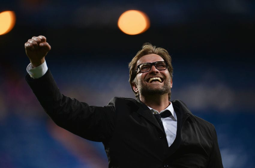 MADRID, SPAIN - APRIL 30: Head Coach Jurgen Klopp of Borussia Dortmund celebrates after the UEFA Champions League Semi Final Second Leg match between Real Madrid and Borussia Dortmund at Estadio Santiago Bernabeu on April 30, 2013 in Madrid, Spain. (Photo by Lars Baron/Bongarts/Getty Images)