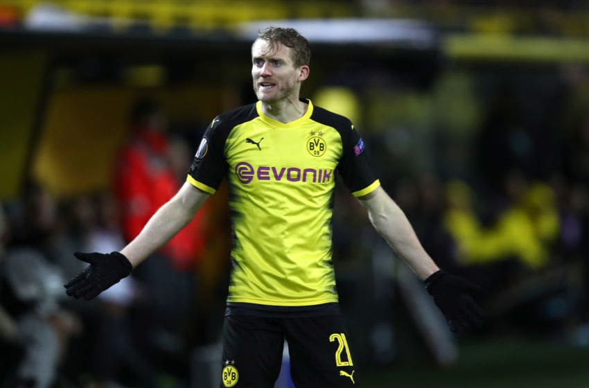 DORTMUND, GERMANY - MARCH 08: Andre Schuerrle of Borussia Dortmund reacts during the UEFA Europa League Round of 16 match between Borussia Dortmund and FC Red Bull Salzburg at the Signal Iduna Park on March 8, 2018 in Dortmund, Germany. (Photo by Maja Hitij/Bongarts/Getty Images)