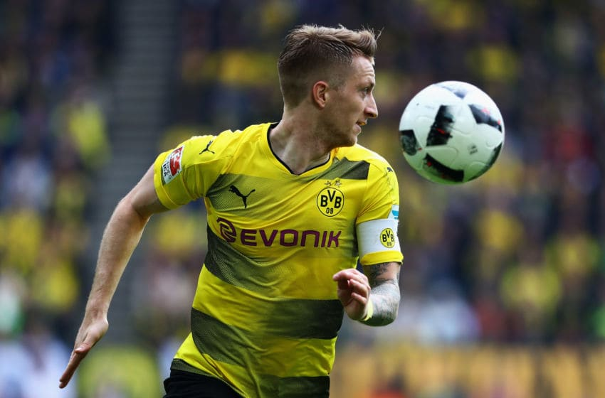DORTMUND, GERMANY - MAY 20: Marco Reus of Borussia Dortmund in action during the Bundesliga match between Borussia Dortmund and Werder Bremen at Signal Iduna Park on May 20, 2017 in Dortmund, Germany. (Photo by Dean Mouhtaropoulos/Bongarts/Getty Images)