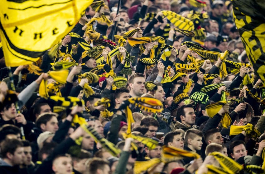 DORTMUND, GERMANY - JANUARY 14: The fans of Borussia Dortmund in action during the Bundesliga match between Borussia Dortmund and VfL Wolfsburg at the Signal Iduna Park on January 14, 2018 in Dortmund, Germany. (Photo by Alexandre Simoes/Borussia Dortmund/Getty Images)