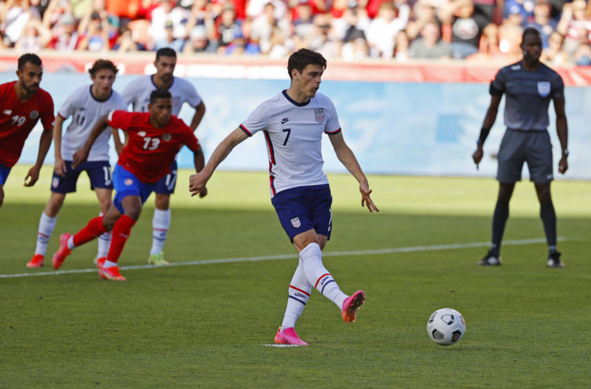 Gio Reyna scored his fourth goal for the USMNT on Wednesday (Credit: Jeffrey Swinger-USA TODAY Sports)