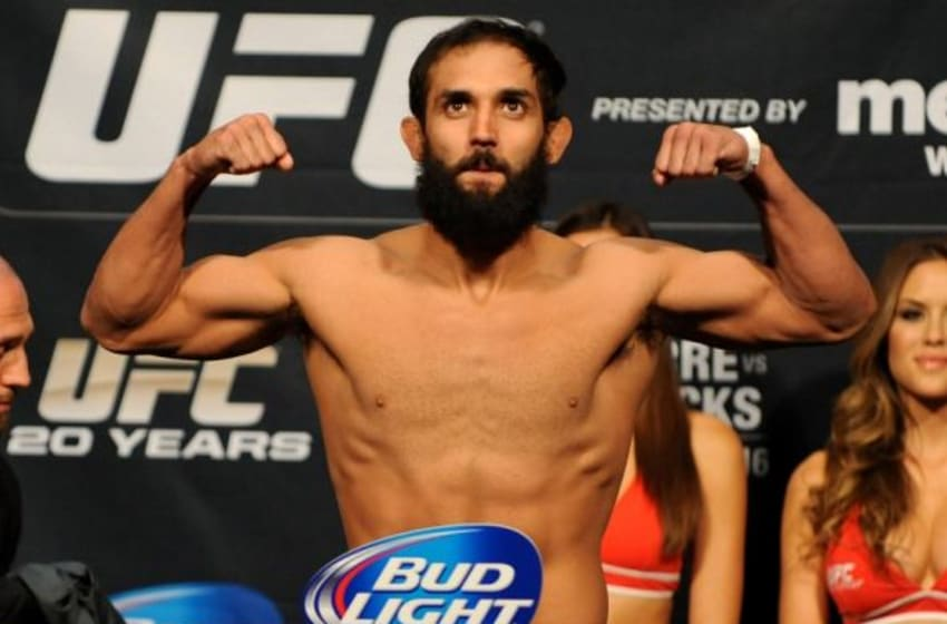 Nov 15, 2013; Las Vegas, NV, USA; UFC welterweight Johny Hendricks participates in the official weigh-in for UFC 167 at MGM Grand Garden Arena. Mandatory Credit: Stephen R. Sylvanie-USA TODAY Sports