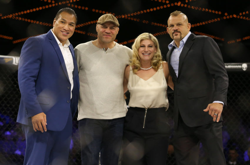 NEW YORK, NY - DECEMBER 31: (L to R) Ray Sefo, Randy Couture, Kayla Harrison and Chuck Liddell during the World Series of Fighting at The Theater at Madison Square Garden on December 31, 2016 in New York City. (Photo by Ed Mulholland/Getty Images)