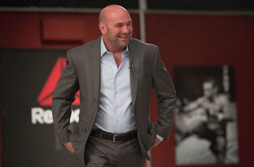 LAS VEGAS, NV - AUGUST 26: UFC President Dana White enters the TUF gym during the filming of The Ultimate Fighter: Team McGregor vs Team Faber at the UFC TUF Gym on August 26, 2015 in Las Vegas, Nevada. (Photo by Brandon Magnus/Zuffa LLC/Zuffa LLC via Getty Images)
