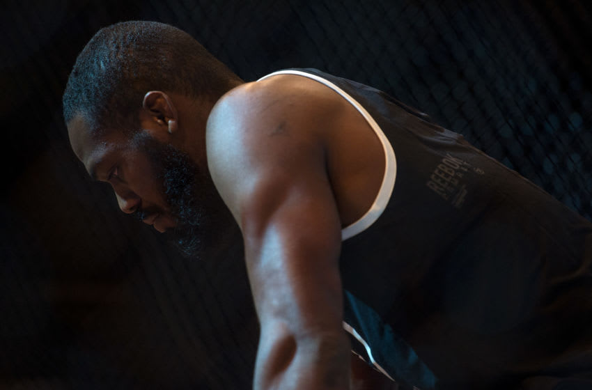 LAS VEGAS, NEVADA - APRIL 22: Jon Jones steps into the Octagon backstage during the UFC 197: Weigh-ins at MGM Grand Hotel