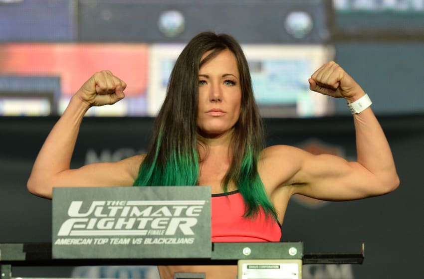 LAS VEGAS, NEVADA - JULY 11: Angela Magana steps onto the scale during the TUF 21 Finale Weigh-in at the UFC Fan Expo in the Sands Expo and Convention Center on July 11, 2015 in Las Vegas Nevada. (Photo by Brandon Magnus/Zuffa LLC/Zuffa LLC via Getty Images)
