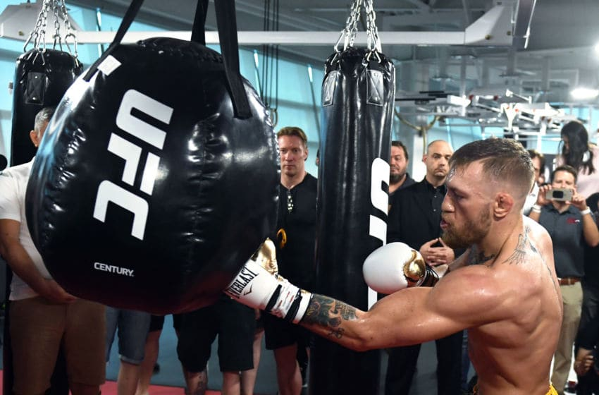 LAS VEGAS, NV - AUGUST 11: UFC lightweight champion Conor McGregor hits an uppercut bag during a media workout at the UFC Performance Institute on August 11, 2017 in Las Vegas, Nevada. McGregor will fight Floyd Mayweather Jr. in a boxing match at T-Mobile Arena on August 26 in Las Vegas. (Photo by Ethan Miller/Getty Images)