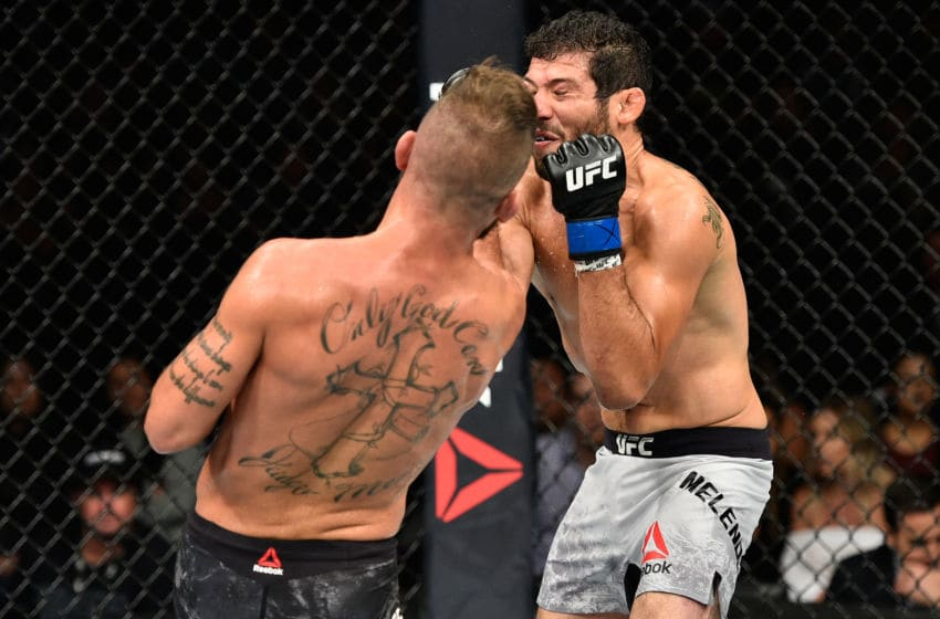 EDMONTON, AB - SEPTEMBER 09: (L-R) Jeremy Stephens punches Gilbert Melendez in their featherweight bout during the UFC 215 event inside the Rogers Place on September 9, 2017 in Edmonton, Alberta, Canada. (Photo by Jeff Bottari/Zuffa LLC/Zuffa LLC via Getty Images)