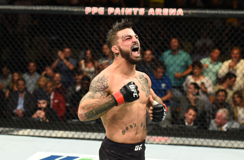 PITTSBURGH, PA - SEPTEMBER 16: Mike Perry celebrates after defeating Alex Reyes in their welterweight bout during the UFC Fight Night event inside the PPG Paints Arena on September 16, 2017 in Pittsburgh, Pennsylvania. (Photo by Josh Hedges/Zuffa LLC/Zuffa LLC via Getty Images)