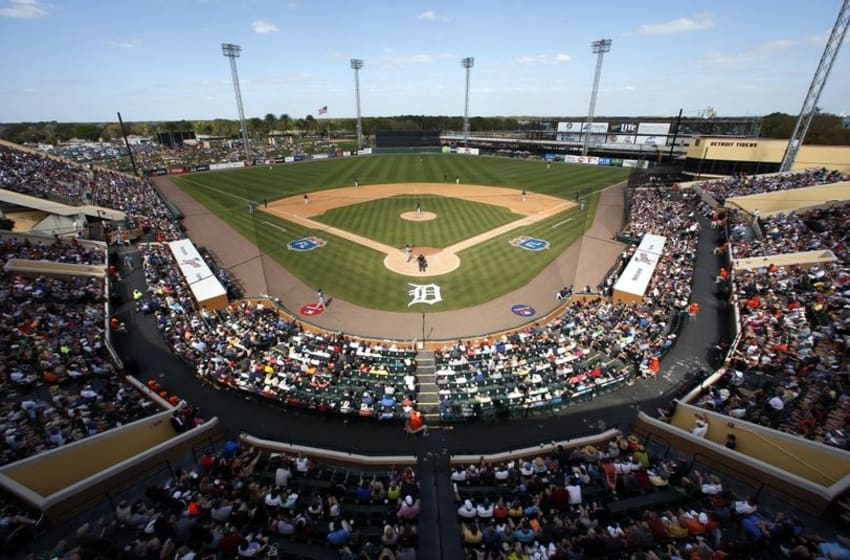 Mar 8, 2016; Lakeland, FL, USA; An overall view of the game between the Detroit Tigers and theTampa Bay Rays during the sixth inning at Joker Marchant Stadium. Mandatory Credit: Butch Dill-USA TODAY Sports
