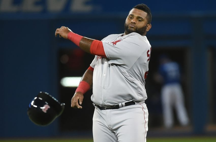 Apr 9, 2016; Toronto, Ontario, CAN; Boston Red Sox third baseman Pablo Sandoval (48) throws his helmet away after being forced out at second base in the seventh inning against Toronto Blue Jay at Rogers Centre. Mandatory Credit: Dan Hamilton-USA TODAY Sports