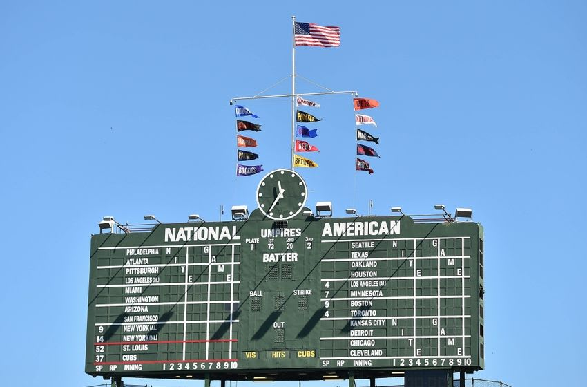 Sep 19, 2015; Chicago, IL, USA; A general view of the centerfield scoreboard at Wrigley Field during the game between the Chicago Cubs and the St. Louis Cardinals. Mandatory Credit: Jasen Vinlove-USA TODAY Sports