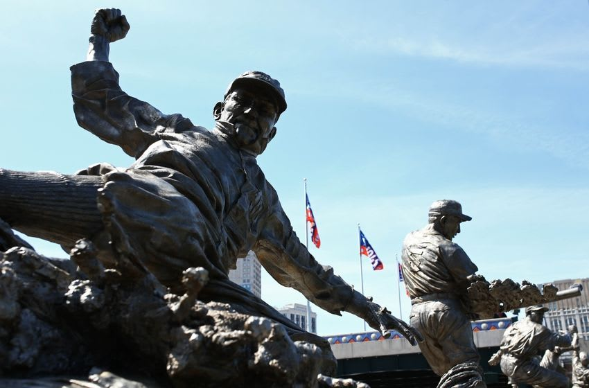 Apr 24, 2016; Detroit, MI, USA; A general view of the statue of former Detroit Tigers player Ty Cobb prior to the game between the Cleveland Indians and Detroit Tigers at Comerica Park. Mandatory Credit: Aaron Doster-USA TODAY Sports